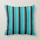 [ Thumbnail: Dark Turquoise, Black & Lavender Pattern Pillow ]