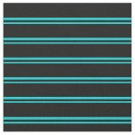 [ Thumbnail: Dark Turquoise & Black Lines Fabric ]