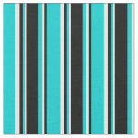 [ Thumbnail: Dark Turquoise, Black & White Colored Stripes Fabric ]