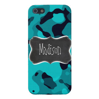 Dark Turquoise Camo; Chalkboard look Cover For iPhone SE/5/5s