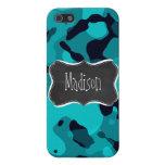 Dark Turquoise Camo; Chalkboard look iPhone 5 Cases
