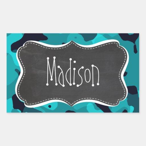 Dark Turquoise Camo; Chalkboard look Rectangle Sticker