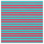 [ Thumbnail: Dark Turquoise & Crimson Colored Lines Fabric ]
