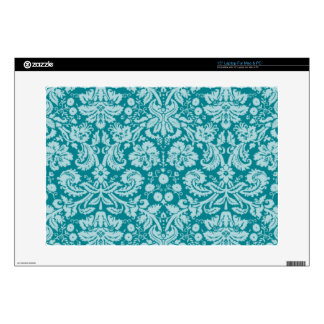 "Dark Turquoise Damask Skin For 15"" Laptop"