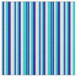 [ Thumbnail: Dark Turquoise, Dark Blue, and Lavender Stripes Fabric ]