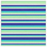 [ Thumbnail: Dark Turquoise, Dark Blue, Beige & Green Pattern Fabric ]