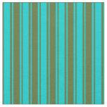 [ Thumbnail: Dark Turquoise & Dark Olive Green Striped Pattern Fabric ]