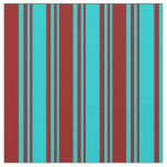 [ Thumbnail: Dark Turquoise & Dark Red Pattern of Stripes Fabric ]