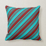 [ Thumbnail: Dark Turquoise & Dark Red Pattern of Stripes Throw Pillow ]
