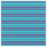 [ Thumbnail: Dark Turquoise & Dark Slate Blue Stripes Fabric ]