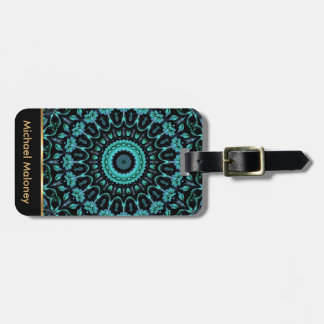 Dark Turquoise Floral Mandala Luggage Tag