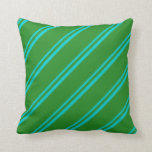 [ Thumbnail: Dark Turquoise & Forest Green Stripes Throw Pillow ]