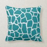 Dark Turquoise Giraffe Animal Print Pillow