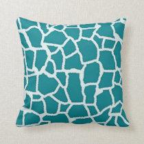 Dark Turquoise Giraffe Animal Print Throw Pillow