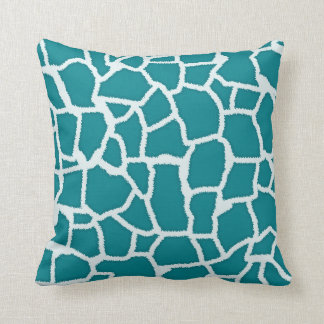 Dark Turquoise Giraffe Animal Print Throw Pillow