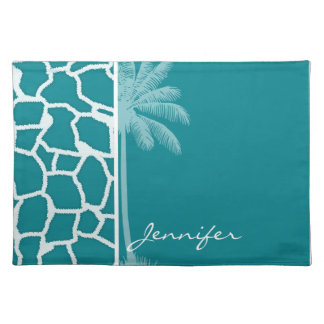 Dark Turquoise Giraffe Print Summer Palm Place Mat
