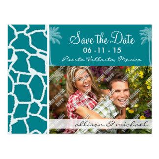 Dark Turquoise Giraffe Print; Summer Palm Postcards