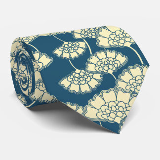 Dark turquoise gold foil floral Japanese pattern Tie