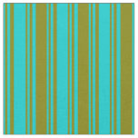 [ Thumbnail: Dark Turquoise & Green Colored Stripes Fabric ]