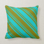 [ Thumbnail: Dark Turquoise & Green Colored Stripes Pillow ]