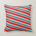[ Thumbnail: Dark Turquoise, Light Gray, and Red Pattern Pillow ]