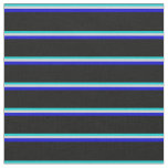 [ Thumbnail: Dark Turquoise, Light Gray, Blue & Black Stripes Fabric ]
