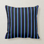 [ Thumbnail: Dark Turquoise, Light Gray, Blue & Black Stripes Throw Pillow ]