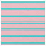 [ Thumbnail: Dark Turquoise & Light Pink Lines Pattern Fabric ]
