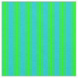 [ Thumbnail: Dark Turquoise & Lime Colored Lined Pattern Fabric ]