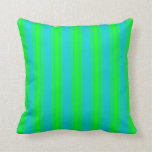 [ Thumbnail: Dark Turquoise & Lime Colored Lined Pattern Pillow ]