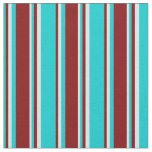 [ Thumbnail: Dark Turquoise, Maroon, and Lavender Stripes Fabric ]