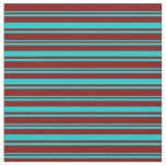 [ Thumbnail: Dark Turquoise & Maroon Colored Lines Fabric ]