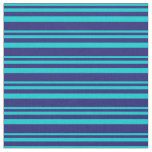 [ Thumbnail: Dark Turquoise & Midnight Blue Colored Stripes Fabric ]