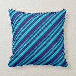 [ Thumbnail: Dark Turquoise & Midnight Blue Colored Stripes Throw Pillow ]