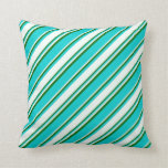 [ Thumbnail: Dark Turquoise, Mint Cream & Dark Green Colored Throw Pillow ]