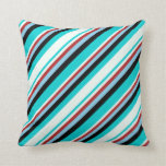 [ Thumbnail: Dark Turquoise, Mint Cream, Red, Sky Blue & Black Throw Pillow ]