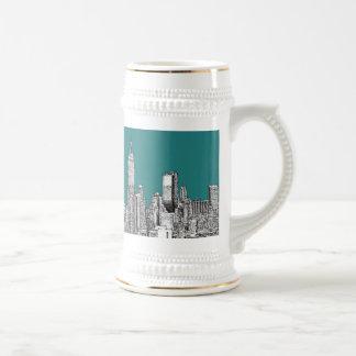 Dark turquoise NYC 18 Oz Beer Stein