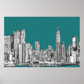 Dark turquoise NYC Poster