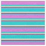 [ Thumbnail: Dark Turquoise, Orchid, Dark Slate Gray, and Beige Fabric ]
