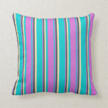 [ Thumbnail: Dark Turquoise, Orchid, Dark Slate Gray, and Beige Throw Pillow ]