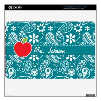 Dark Turquoise Paisley; Apple Decal For MacBook