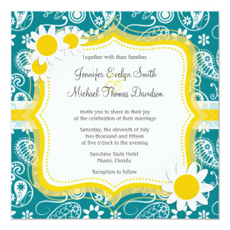 377 Yellow And Turquoise Wedding Invitations Yellow And Turquoise Wedding Announcements