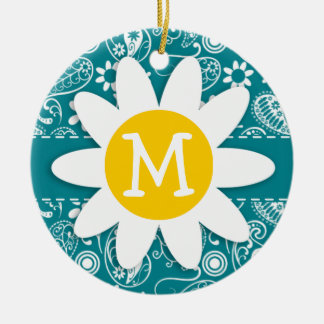 Dark Turquoise Paisley; Daisy Double-Sided Ceramic Round Christmas Ornament