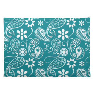 Dark Turquoise Paisley; Floral Cloth Placemat