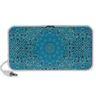Dark Turquoise Paisley Western Bandana Scarf Print Mp3 Speaker