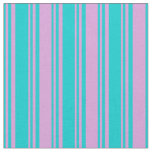 [ Thumbnail: Dark Turquoise & Plum Lines Fabric ]