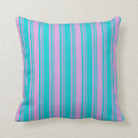 [ Thumbnail: Dark Turquoise & Plum Lines Throw Pillow ]