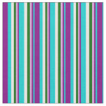 [ Thumbnail: Dark Turquoise, Purple, Plum, Dark Green & White Fabric ]