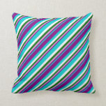 [ Thumbnail: Dark Turquoise, Purple, Plum, Dark Green & White Throw Pillow ]