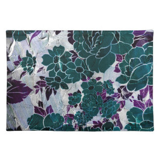 Dark Turquoise Purple Rose Texure Cloth Placemat